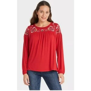 Knox Rose embroidered knit top red